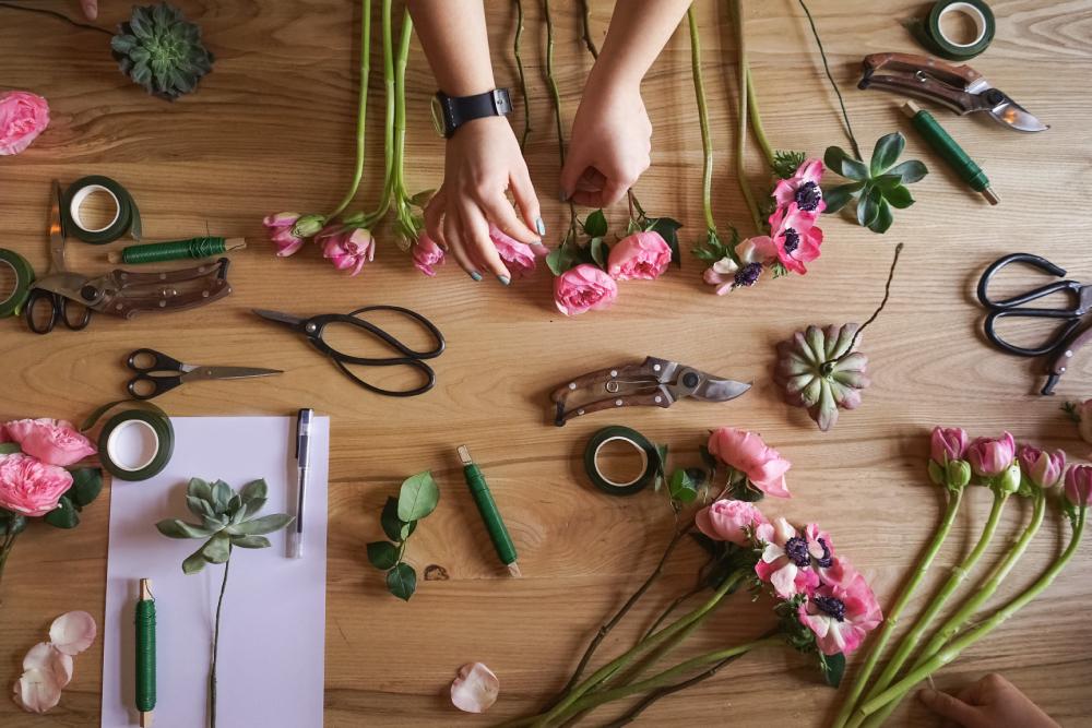 fleurs de papier textile